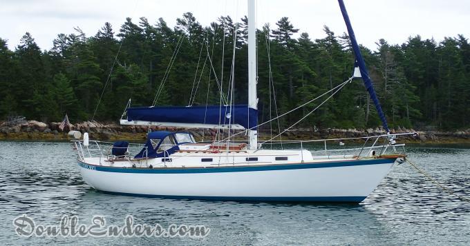 sailboat, on a mooring, vineyard vixen, somas, mount desert island, maine