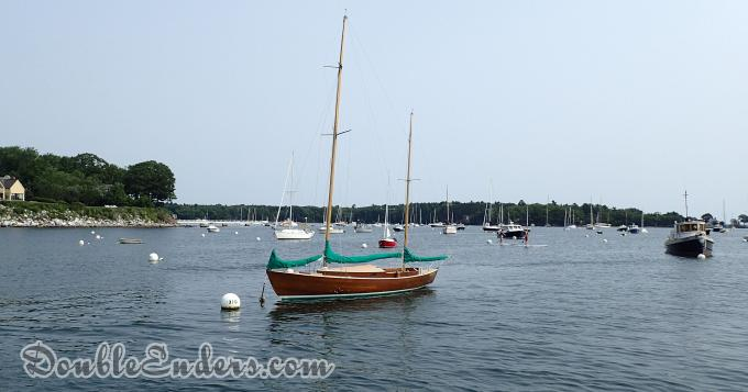 a Rozinante Yawl designed by Herreshoff moored in Camden, ME