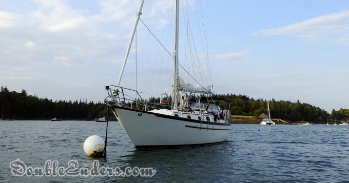 Pacific Seacraft sailboat on a mooring in Pulpit Harbor, Maine