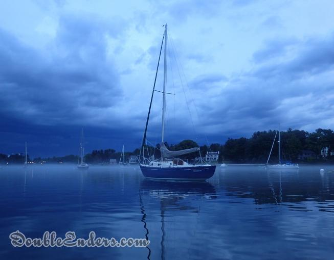 Golden Hour sailing vessel on a mooring in the Back Channel in Kittery, ME
