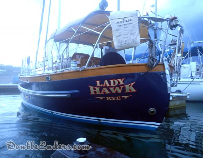 Lady Hawk, a Lord Nelson 35 sailboat, on a mooring in the Back Channel in Kittery, ME
