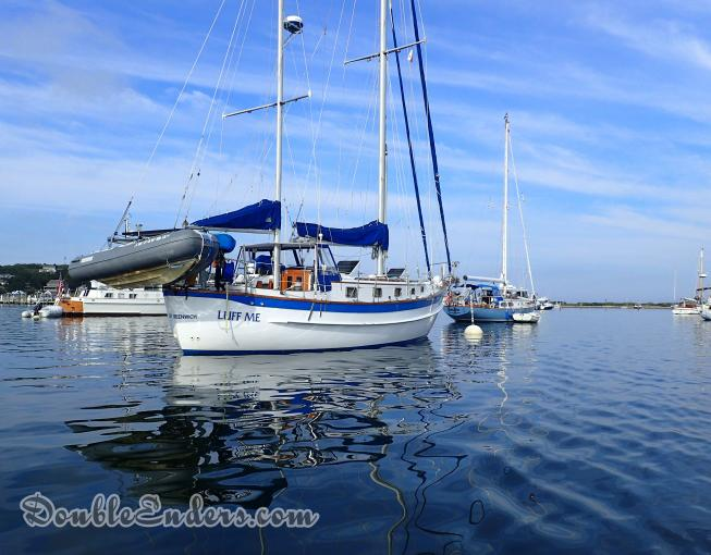 Luff Me, A Fales 38 sailboat, on a mooring at Cuttyhunk, MA