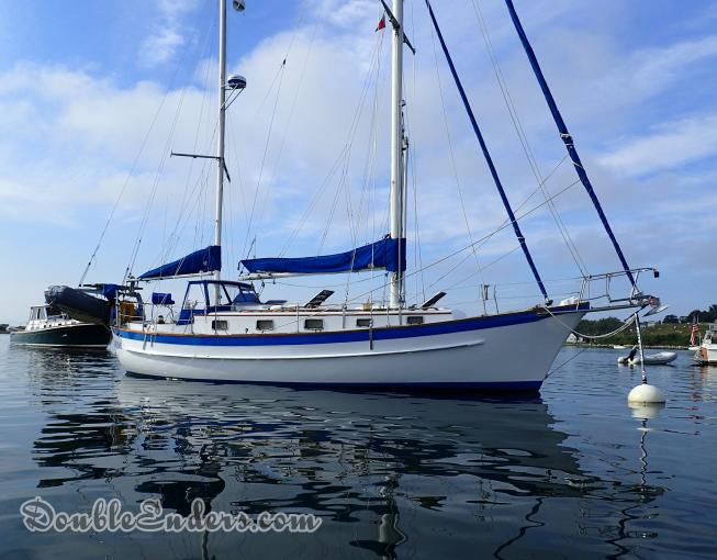 Luff Me, A Fales 38 sailboat, on a mooring at Cuttyhunk, MA