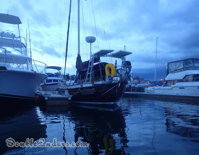 Sea Sisters, a canoe-stern sailboat, at the dock in Kittery, ME