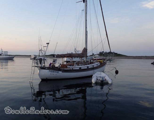Tempo, a canoe-stern sailboat, in Cuttyhunk, MA