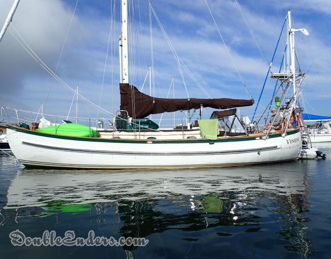 Veneeni, a Lord Nelson 41 sailboat, on a mooring in Cuttyhunk, MA