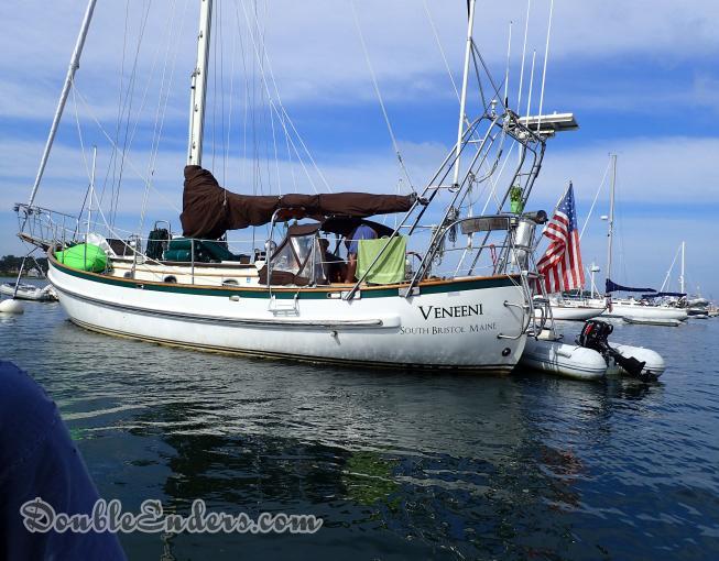 Veneeni, a Lord Nelson 41 sailboat, on a mooring in Cuttyhunk, MA
