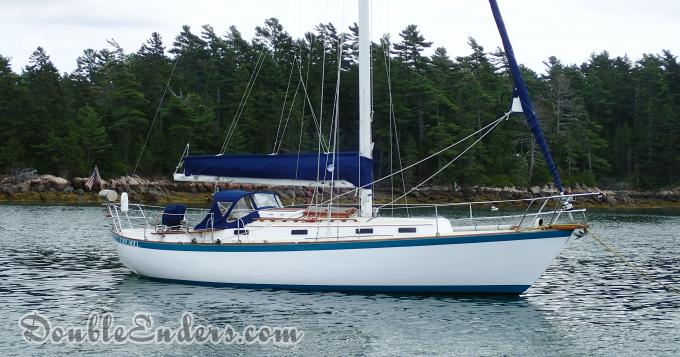 sailboat, on a mooring, vineyard vixen, somas, mount desert island, maine