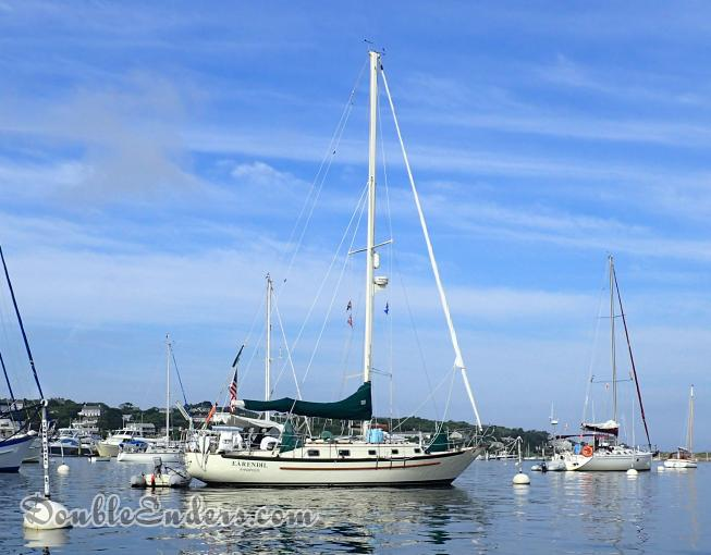 Earendil Pacific Seacraft Sailboat on a mooring in Cuttyhunk
