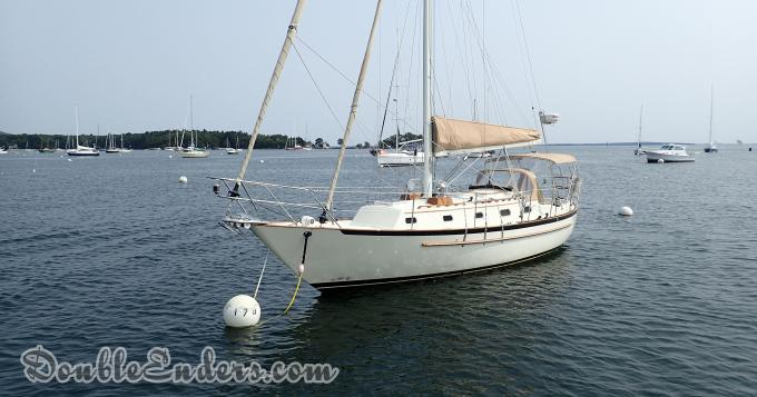 Pacific Seacraft sailboat, mooring, Camden, ME