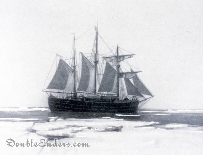 A photograph Roald Amundsen's South Pole expedition ship Fram, under sail in Antarctic waters