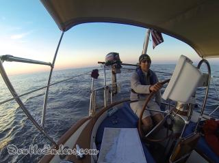 Jeff aboard Bear, a Tayana 37, going down the coast of New Jersey